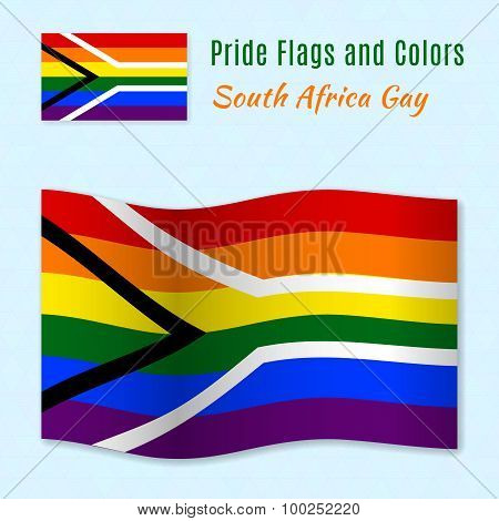 Gay Pride Flag Of South Africa With Correct Color Scheme