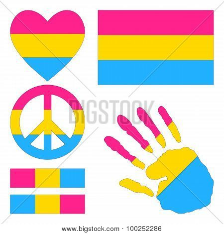 Pansexual Pride Design Elements.