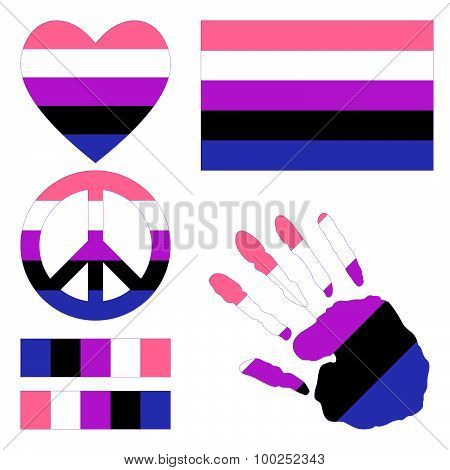 Genderfluid Pride Design Elements.