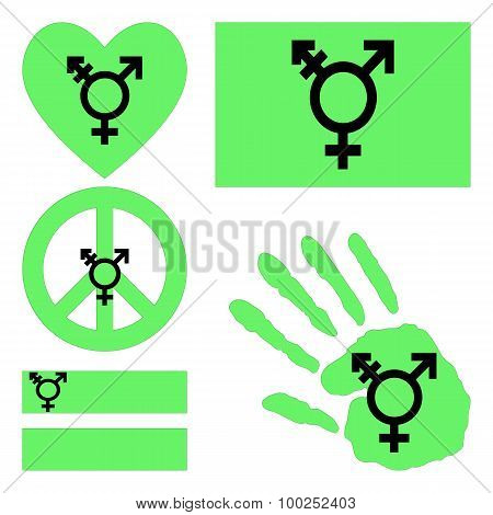 Israeli Transgender And Genderqueer Pride Design Elements.