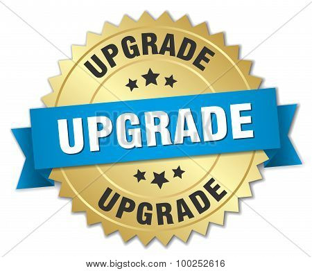 Upgrade 3D Gold Badge With Blue Ribbon