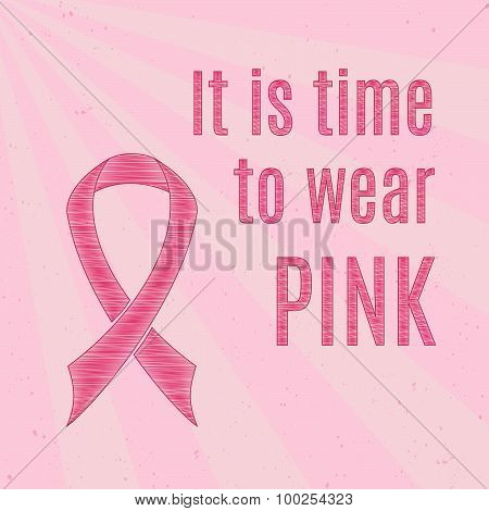 Pink Breast Cancer Awareness Ribbon With Inspirational Quotes.
