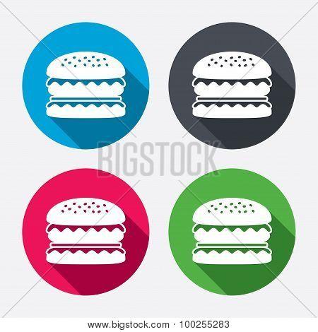 Hamburger icon. Burger food symbol.
