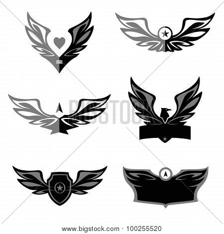 Set of patterns vector logo depicting an eagle, a bird.