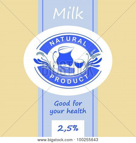 Logo and labels for dairy products. Editable labels for packages. Dairy products.