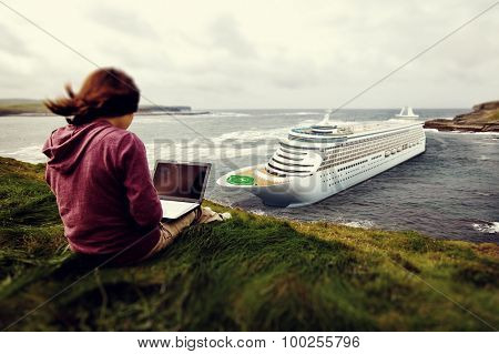 Lady Working Outdoor Cruise Women Aspiration Concept