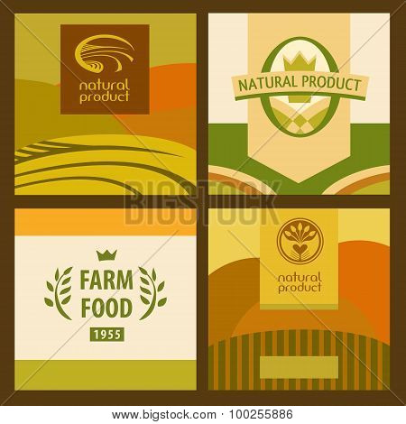 Set of eco food and farm logo, Green concept. Landscape with mea