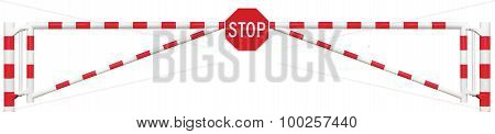 Gated Road Barrier Closeup, Octagonal Traffic Stop Sign, Roadway Gate Bar In Bright White And Red