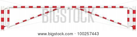 Gated Road Double Traffic Barrier Panorama Closeup, Roadway Gate Bar In Bright White And Red, Entry