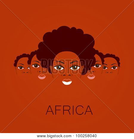 Africa. Portrait of Africans. Template design idea for the illustrations, logos, posters on African themes.