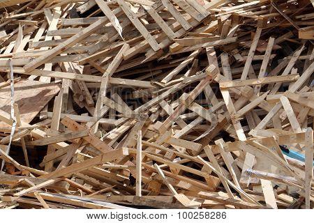 Broken pallets on landfill