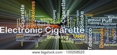 Electronic cigarette background concept glowing