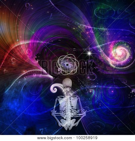 Skeletal figure meditates in cosmos
