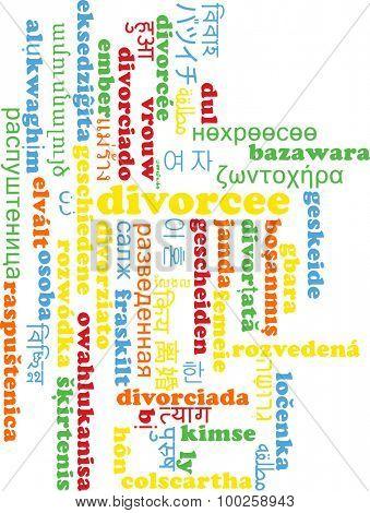Background concept wordcloud multilanguage international many language illustration of divorcee