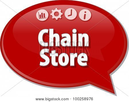 Speech bubble dialog illustration of business term saying Chain Store