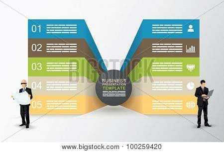 Two sided presentation template with five fields