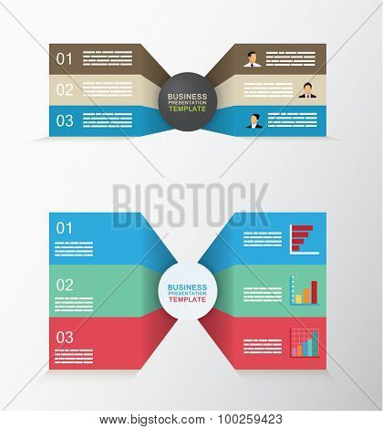 Set of two sided business template with three different levels
