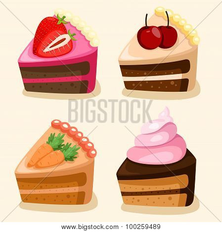Illustrator of isolated cake set