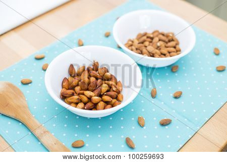 How to make almond milk at home.Comparing almonds before and after 8 hours soaking in water.