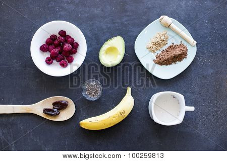 Above shot of the ingredients for an acai bowl or smoothie