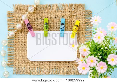 Blank White Paper Tag And Colorful Ladybug Wooden Clamps