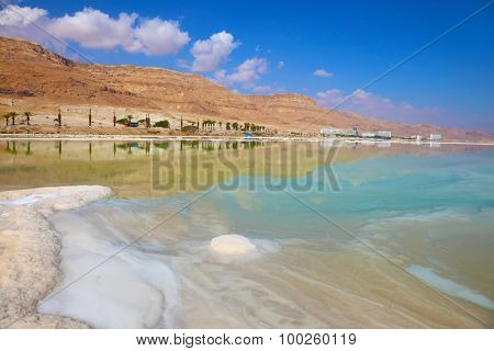 Freakish patterns of the evaporated salt in the Dead Sea. Salt formed long paths with scalloped edges. Israel in October