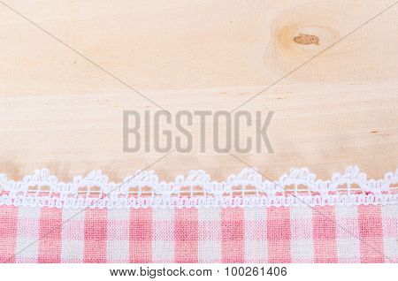 Table Cloth And White Lace Background.