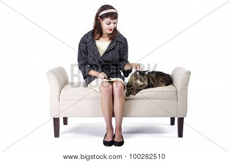 Retro Girl Sitting Next To a Cat