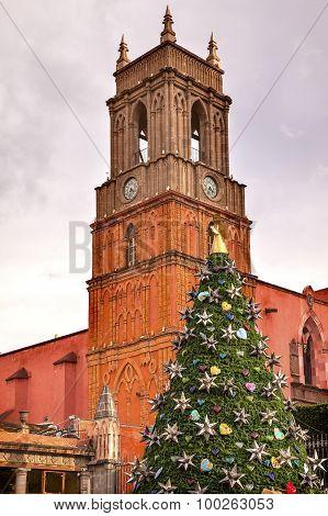 Old Church Tower Temple De San Rafael Christmas Tree El Jardin San Miguel De Allende Mexico