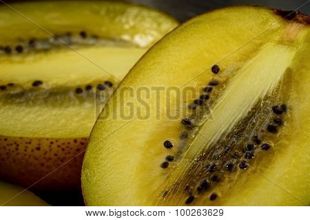 Golden Kiwi Fruit - Macro View