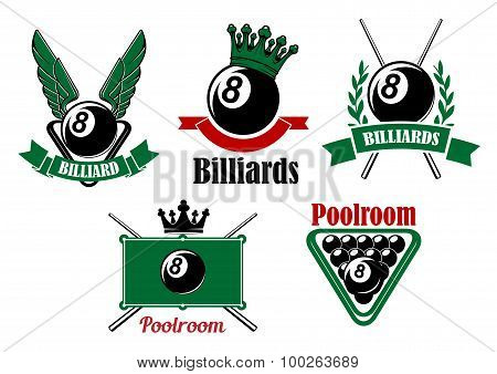 Billiard and poolroom emblems or icons