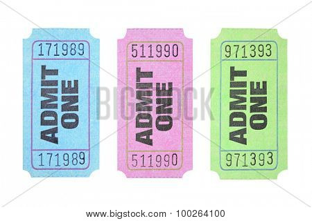 Colourful Admission Tickets on White Background