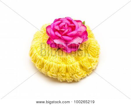Yellow Wool Hat With Pink Rose