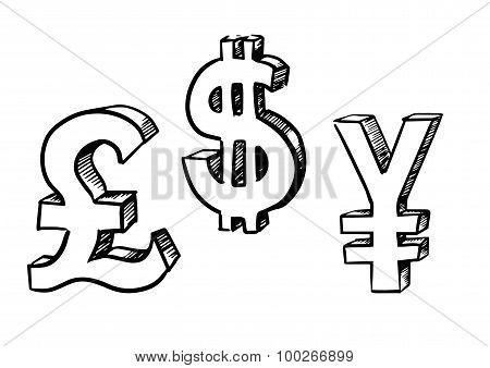 Dollar, pound and yen currency signs
