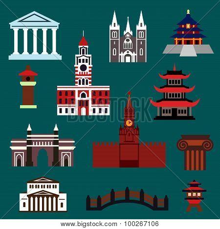 Famous world landmarks flat icons