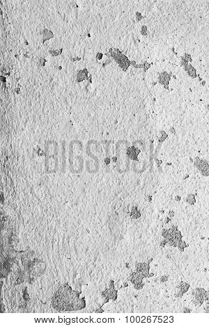 Texture Background Of The Old Wall, Black And White. The Peeling Paint.