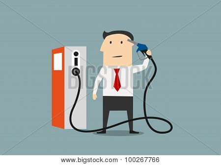 Cartoon businessman refuelling his brain