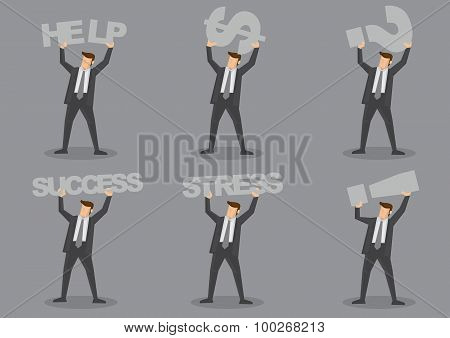 Businessman Carrying Text And Symbols Vector Character Set