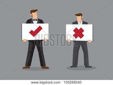 Businessman Holding Tick And Cross Signs Vector Cartoon Illustration.