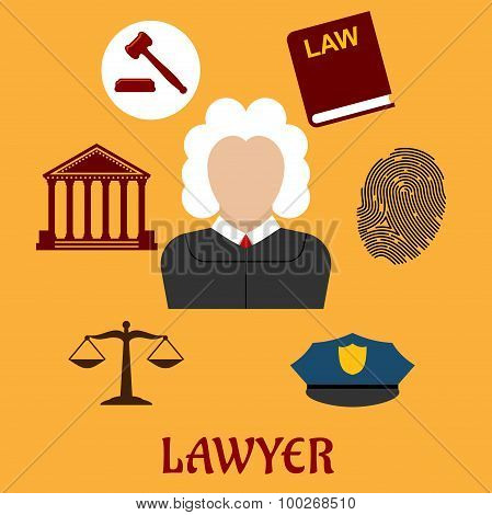 Law and justice flat icons