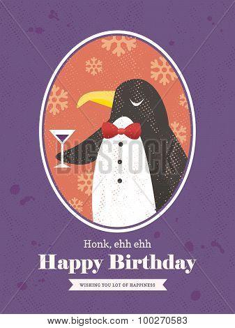 Penguin Animal Cartoon Birthday Card Design