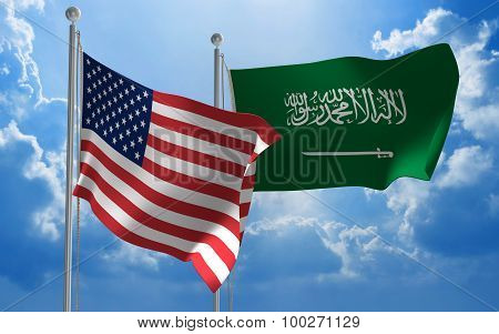 United States and Saudi Arabia flags flying together for diplomatic talks