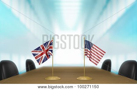 United Kingdom and United States relations and trade deal talks 3D rendering