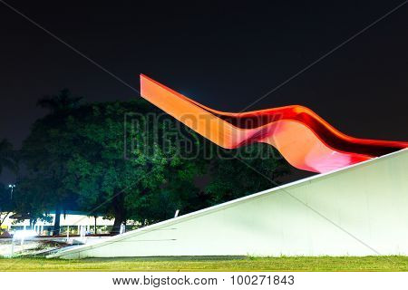SAO PAULO, BRAZIL - CIRCA JAN 2015: The Theater in Ibirapuera Park. The theater is one of the landmarks of Ibirapuera Park, which is a major urban park in Sao Paulo.