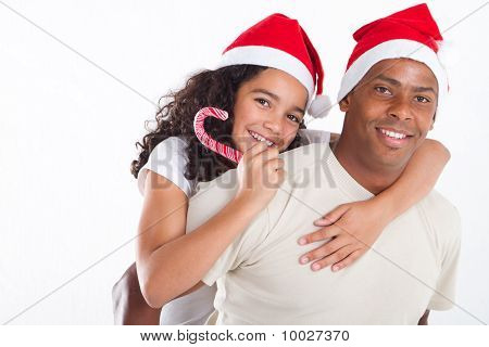 christmas father and daughter