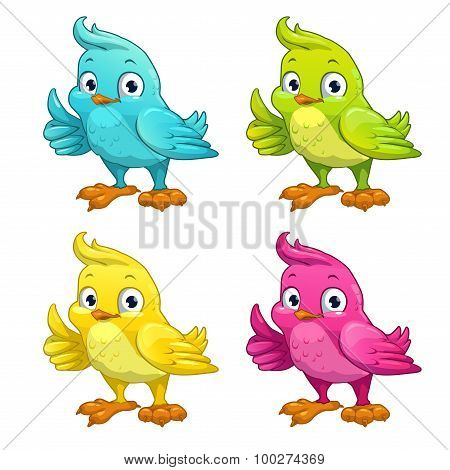 Funny cartoon vector bird