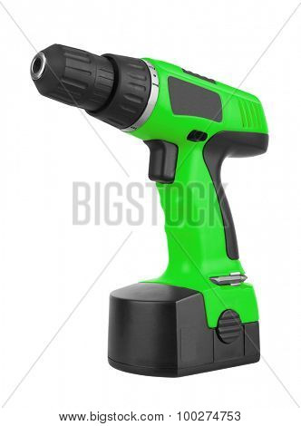 Battery screwdriver or drill isolated on white background