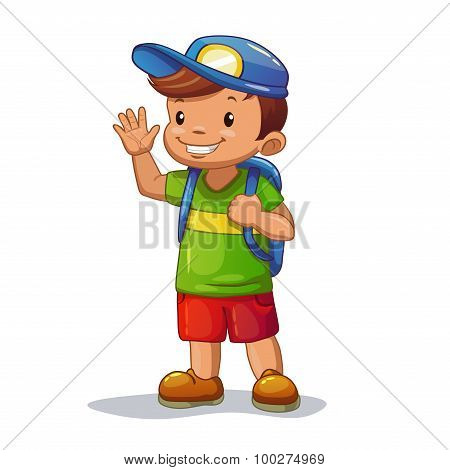 Funny cartoon little boy with school bag