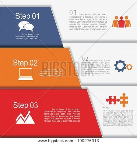 Infographic report template with text and icons. Vector
