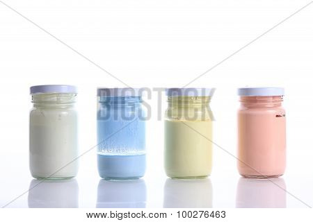 Bottle Glass Of Color On White Background